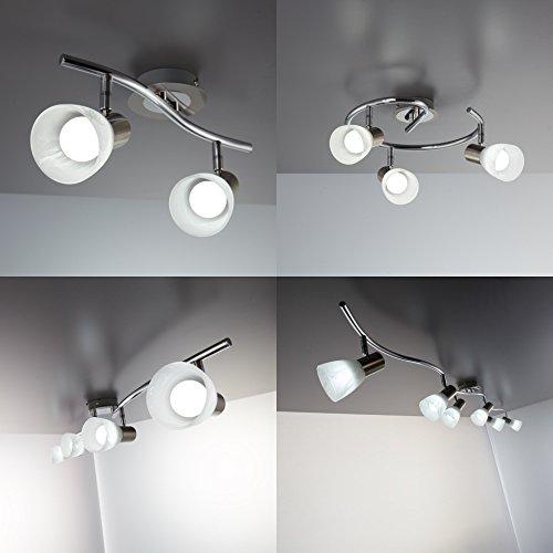 Plafoniera LED con 2 faretti orientabili, include 2 lampadine da 5W E14, lampada da soffitto per soggiorno, sala o camera da letto, metallo color nickel opaco e vetro, 230V, IP20 7