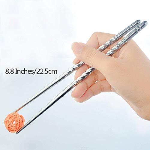 Bacchette, Chantwon 5 paia 10 pezzi Bacchette in Acciaio inox Lavabili per Piatti di Sushi o Riso, Riutilizzabili 6