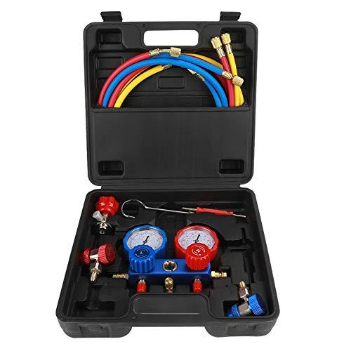 Adatto per set di indicatori di refrigerante per refrigerante R134a con tubi di ricarica da 1,5 m, adattatore di pressione, adattatore, custodia e così via. calibro collettore r134a calibro collettor