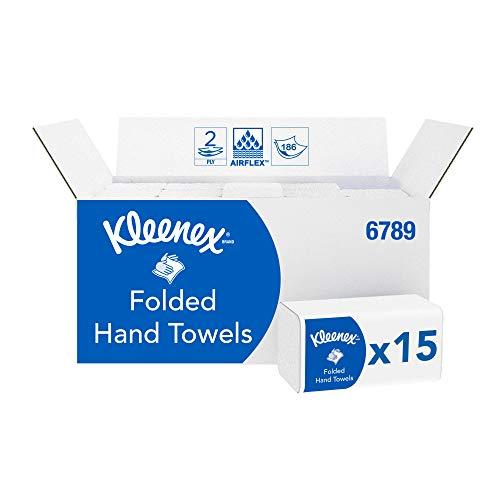 Kleenex 6789 Asciugamani Piegati a 2 Veli, 15 Confezioni x 186 Fogli, Biano