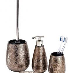 mDesign Porta spazzolini in plastica Decorativo – Bicchiere portaspazzolino per Accessori Bagno – Perfetto Anche Come portaoggetti Bagno per Cosmetici, pennelli