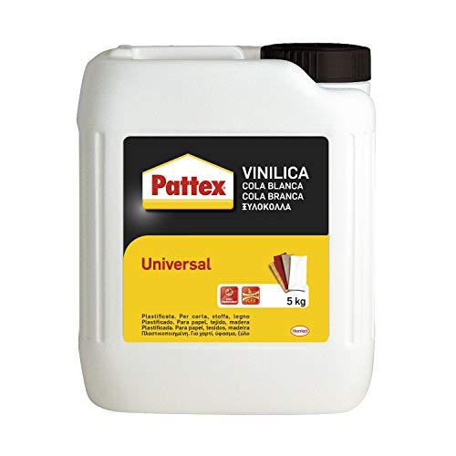 Pattex Vinilica Universale Colla liquida, Colla legno, sughero, feltro, tessuti, carta, cartone, ecc., Colla vinilica bianca all'uso e trasparente quando asciutta, tanica 5kg 2