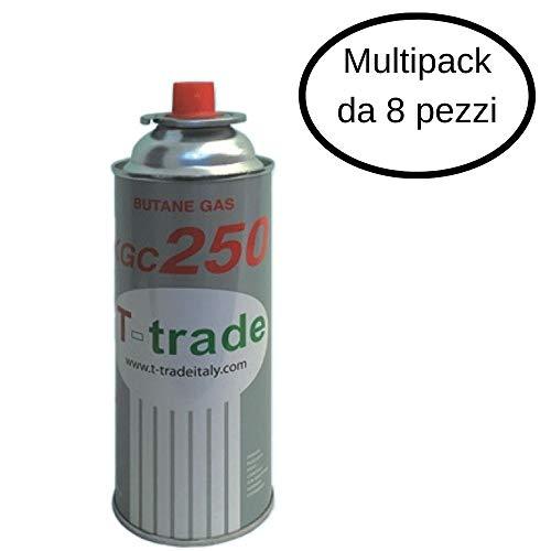 T-Trade Kit Bombolette Gas Butano Multipack 8 Pezzi 250 Grammi Fornelli Campeggio Casa