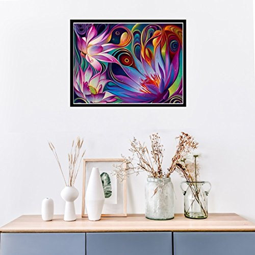 5D Diamond Painting kit completo drill DIY strass ricamo a punto croce Craft Arts for home Wall Decor Colorful Lotus 30x 40cm,pittura diamante diy 3