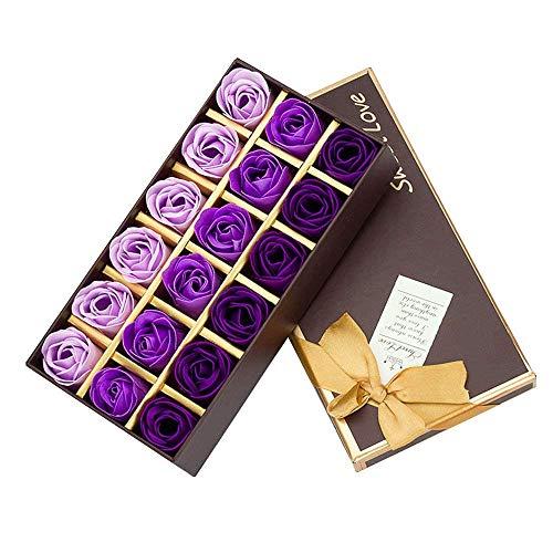 Cisixin 18 Pezzi Creativo Regalo Fiore del Sapone Artificiali Rose Fiori di Sapone per la Festa di Compleanno San Valentino(Porpora)
