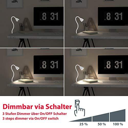 Lampada LED da tavolo con morsetto dimmerabile, include lampadina 5W GU10, luce calda 3000K, lampada da scrivania o comodino bianca 5
