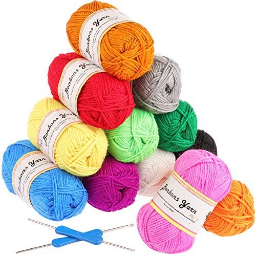 Gomitoli di Lana 600g (12x50g )Fuyit Filato Lana Filati Lana Acrylico 100% per uncinetto e lavori a maglia(12 Colori)