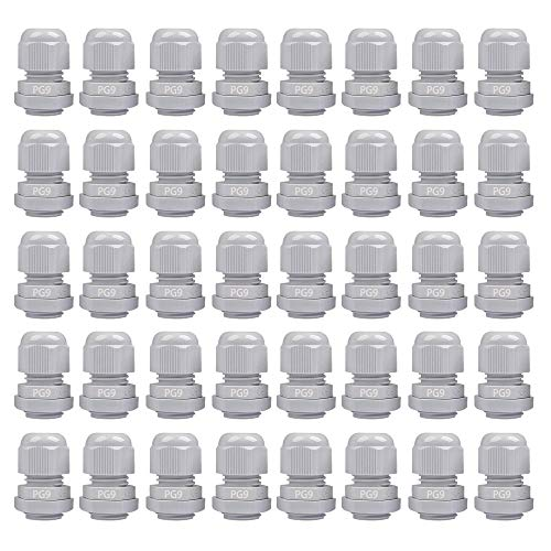 TOOHUI 40 pezzi Pressacavi Impermeabili PG9, M16x1.5 Passacavo con Controdado, Nylon Pressacavi Connettori Ø4-8mm, Passacavi Regolabili per Casa, Giardino, Illuminazione Esterni (Bianco)