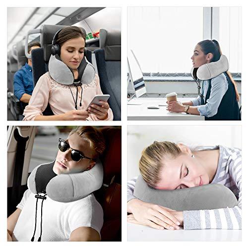 KEAFOLS Cuscino da Viaggio Memory Foam Cuscino Cervicale Collo Supporto Tightness Regolabile Con maschera per gli occhi e tappi per le orecchie per Auto Aereo Ufficio e Domestico 3