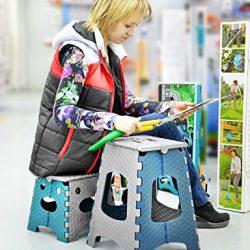 APIKA Pieghevole Passo Sgabello per bambini Plastica portatile facile da trasportare adatto per la pesca da campeggio uso esterno 2
