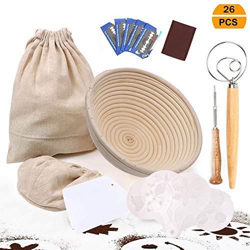 UHAPEER – Cesto per fermentazione rotondo, ø 22 cm set, include 5 tagliapasta per impasti, 16 modelli decorazione pane, asta mescolare farina, raschietto, borsa il pane in lino
