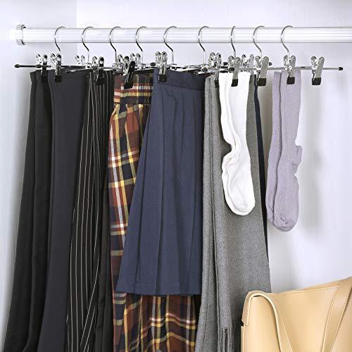 SONGMICS 10 Pezzi – Cromato Gruccia Appendiabiti Grucce Stampelle Pinze pantaloni 31 cm, Metallo CRI003-10 3