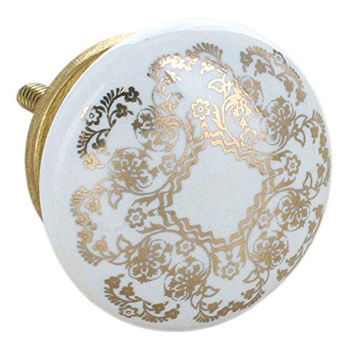 G Decor, set di 8 pomelli rotondi in ceramica, di colore dorato, con finitura screpolata, stile vintage e shabby chic, adatti come maniglie per cassetti 8