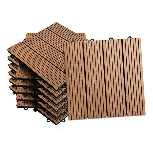 Aufun piastrelle WPC in plastica 30 x 30 cm – piastrelle per terrazza balcone piastrelle a clic in effetto legno