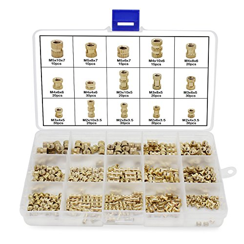 HSeaMall 330 PZ M2 M3 M4 M5 Filetto Femmina Dadi Zigrinati Rotondi Stampaggio ad Iniezione Ottone Filettato Inserimento Dadi Assortimento Kit (Female Thread Nut Kits 330PCS)