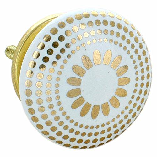 G Decor, set di 8 pomelli rotondi in ceramica, di colore dorato, con finitura screpolata, stile vintage e shabby chic, adatti come maniglie per cassetti 6