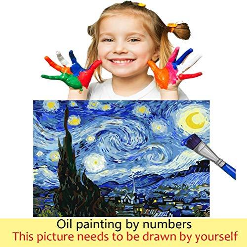 gogobest Fai da Te Paint by Numbers Kit per Pittura a Olio per Bambini Adulti Giocattoli creativi Decorazioni per la casa Art Gift – Princekin e Fox Little Prince Star Rose 7