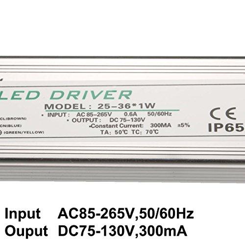 sourcing map 25-36W Corrente costante 300mA IP65 impermeabile alluminio Driver LED alimentazione 3