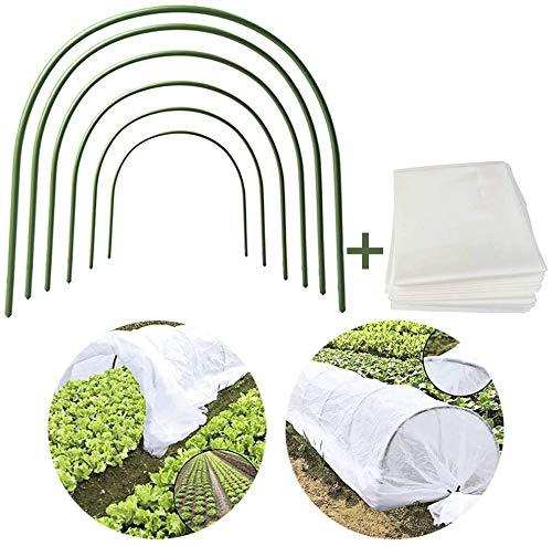 JYCRA – Mini serra a tunnel per proteggere e coltivare piante da giardino, copertura per fila di piante da 25 ml dotata di 6 cerchi in acciaio rivestiti in plastica