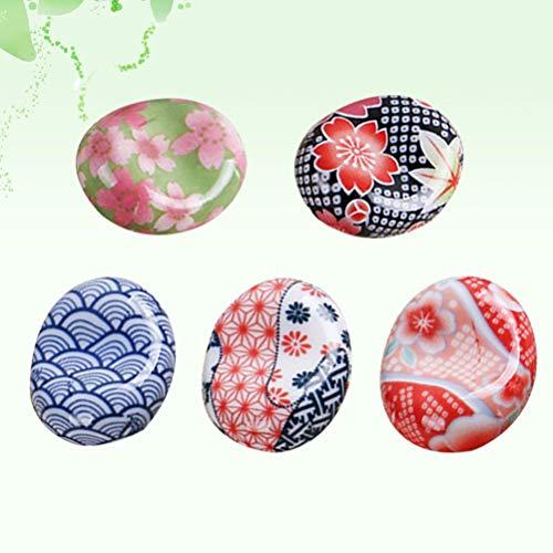 BESTONZON 5 pezzi bacchette di ceramica resto in stile giapponese bacchette Sakura cuscino cucchiaio cucchiaio forchetta coltello (modello casuale) 6