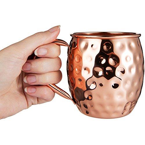 Bicchiere di Rame Moscow Mule – Fatto a Mano in Rame Puro al 100% – Bicchiere da 500 Grammi a Forma di barile con Effetto martellato in Confezione Regalo 6