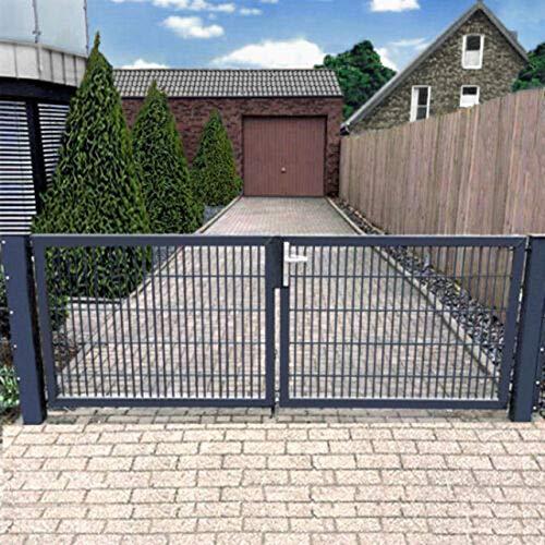 Cancello a doppia anta 400 cm cancello da giardino cancello d'ingresso Hoftor grigio con set serratura, Grigio 2
