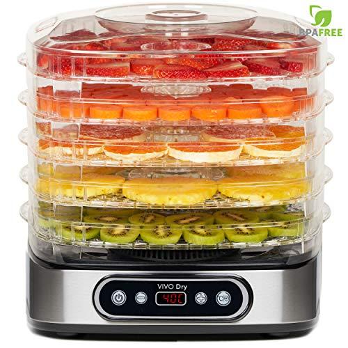 Classe Italy Alimenti, 5 Ripiani BPA-Free con Altezza Regolabile, Essiccatore Frutta e Verdura Professionale Temperatura da 35-70? per Carne, Noci, 500 W, 23 Litri, Vassoi in plastica Senza, Acciaio