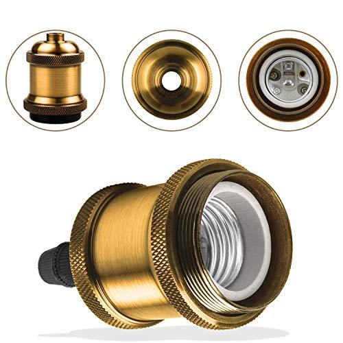 DiCUNO E27 Vintage Portalampada, Edison retro lampada a sospensione, Adattatore in ceramica solida, 6 Pezzi di ottone vintage socket 6