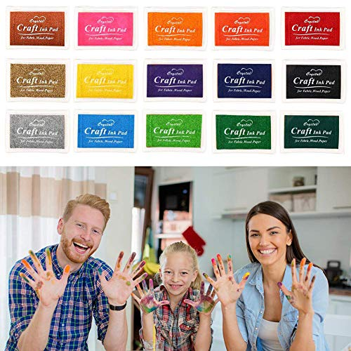 iwobi 15 Colori Tamponi per Timbri Bambini,Tampone di Inchiostro per Carta Artigianale Tessuto,DIY Artistica,Scrapbook,Impronte Digitali 8