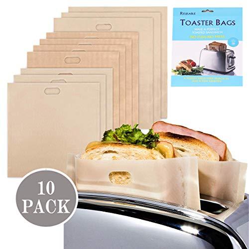Sacchetti per tostapane, griglia, antiaderenti, lavabili e resistenti al calore, in teflon, riutilizzabili, senza glutine, per pane tostapane, per pane tostapane, riutilizzabili, 100 volte 2