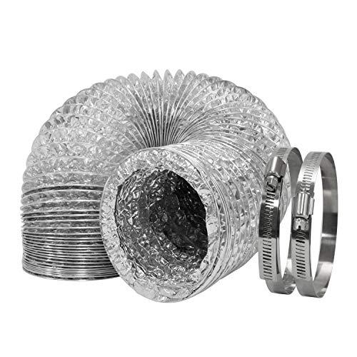 HG Power – Condotto per ventilazione, flessibile, con doppio strato di alluminio, con 2 morsetti per tubi, lunghezza massima 10 m