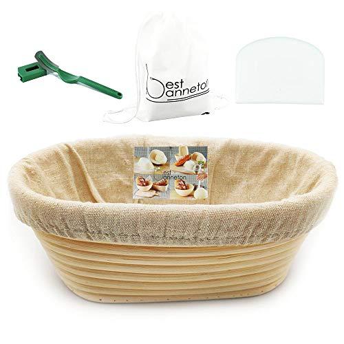 Banneton Banneton Banneton – Cestino ovale per pane e impasti in rattan (1200 g duro) + fodera + raschietto ad arco bianco + gratis