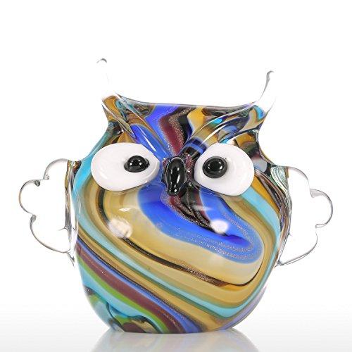 Tooarts Owl Colorato Ornamento di Vetro Regalo Figurine Animale Handblown Decorazione Domestica Multicolore