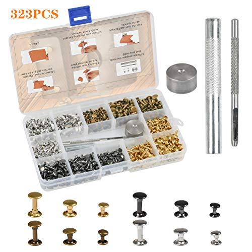 FOCCTS Kit rivetti 320 pezzi per cuoio doppio cappuccio con bottoni automatici 3 strumenti per decorazione artigianato, jeans, cintura, ecc