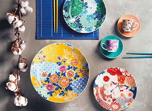 Excelsa Kimono Set 6 Tazzine da caffè con Piattino, Porcellana, Multicolore 3