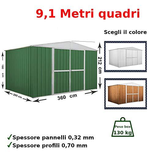 Notek Box in Acciaio Zincato Casetta da Giardino in Lamiera 3.60 x 2.60 m x h2.12 m – 130 kg – 9,1 Metri Quadri
