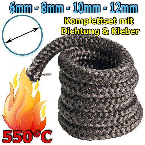 MW.Shop.24 – Guarnizione per Camino in Fibra di Vetro, Senza amianto, Resistente al Calore Fino a 550°C, con Adesivo di Montaggio ignifugo