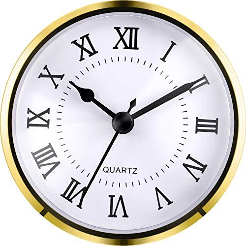 Hicarer 3-1/2 Pollici (90 mm) Orologio al Quarzo Fit-Up/Inserisci con Numero Romano, Movimento al Quarzo (Trim Oro)