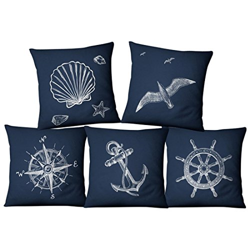 LIUZHI Federa di lino stile americano marino/tessuto casa/cuscino/cuscino/federa (5 pezzi)
