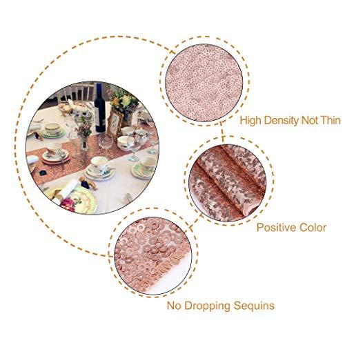 MengH-SHOP Runner da Tavolo con Paillettes Tovaglia Glitter Rettangolare per la Decorazione di Banchetti di Matrimonio Oro Rosa 30 * 280 cm 6