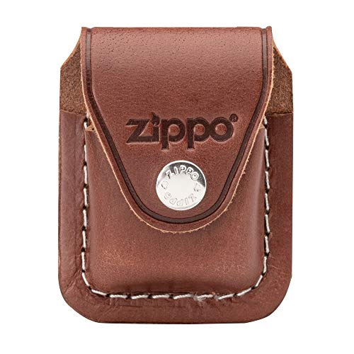 Zippo Lighter, Leather, Brown, One Size