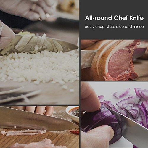 SKY LIGHT Coltello da Cucina Coltelli da Chef Professionale 20 CM German ad Alto Tenore di Carbonio in Acciaio Inox per Tagliare Frutta, Verdura 4
