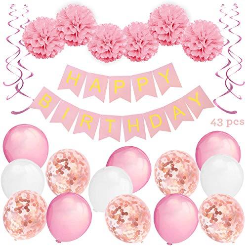 Decorazioni per Feste di Compleanno Bambina – 43 Pz – Include Striscione Happy Birthday, Pompon di Carta, Palloncini, Palloncini a Coriandoli, Decorazioni a Spirale – Set Rosa e Bianco per Bimba