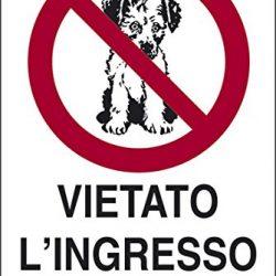 cartello alluminio cm 30×20 VIETATO L'INGRESSO AI CANI