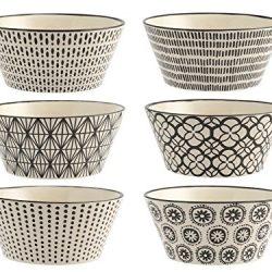 H&H Vhera Set 6 Ciotole, Stoneware, Bianco/Nero, 600 ml