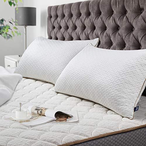 BedStory Cuscini Letto Coppia 42×70, Cuscino Bamboo Antibatterico, Federa con Cerniera Lavabile in Lavatrice, Imbottitura di qualità Premium, Adatto per Dormire in Tutte Le Posizioni