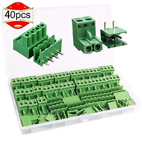 RUNCCI 5.08 mm distanza 2 Pin 4 Pin plug-in vite PCB terminal block connettore ad angolo retto (40 pz, 20pairs)