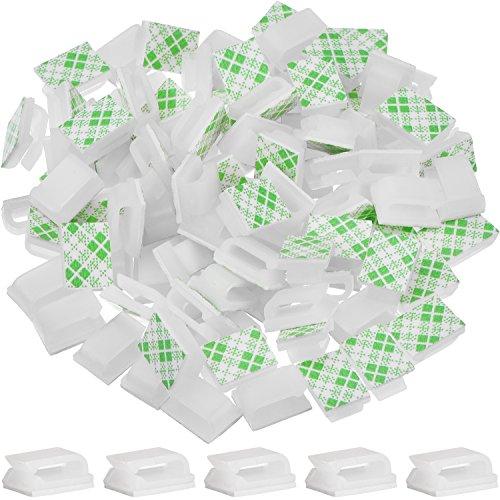 100 Pezzi Adesivo Cavo Clip Fascette Stringicavo Cavo Gestione Fascette Fermacavo, Bianco