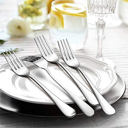 TeamFar – Set di 12 forchette da tavola in acciaio INOX, design elegante, set di posate da tavola da 20 cm, finitura a specchio e lavabile in lavastoviglie, 12 pezzi. 4
