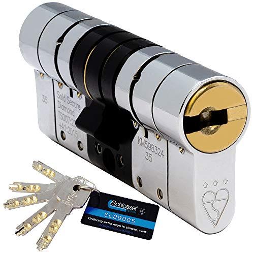 Schlosser Technik – Cilindro europeo a 3 stelle -TS007- alta sicurezza rispetta lo standard Diamond della Sold Secure, approvato dai corpi di polizia